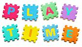 picture of time-piece  - colorful jigsaws arranged as a word play time - JPG