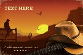 pic of cowboy  - Country music collage with guitar and cowboy  - JPG