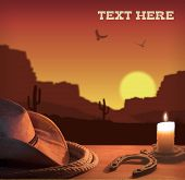 stock photo of lasso  - American western poster with cowboy hat and lasso - JPG