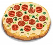 picture of sausage  - Vector Italian pizza with tomato sausage and mushrooms - JPG