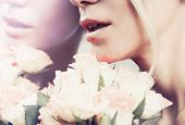 foto of rose close up  - close up sensual smile woman lips in pastel color with bouquet of roses reflection in the mirror background - JPG