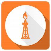 stock photo of shale  - gas orange flat icon oil sign - JPG