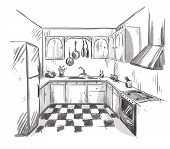 image of interior sketch  - Kitchen interior drawing - JPG