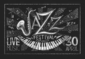 stock photo of sax  - Vector poster of Jazz festival on blackboard - JPG