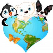 stock photo of greenpeace  - Illustration of earth in the form of heart with several of animals - JPG
