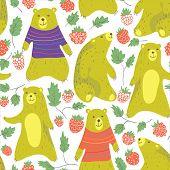 stock photo of bear  - Cute bear and raspberry seamless pattern in cartoon style - JPG