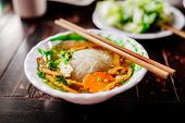 stock photo of noodles  - vegetarian noodle soup pho vietnamese traditional cuisine - JPG
