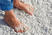 picture of children beach  - Close up of child feet on a tropical sandy beach - JPG