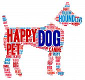 foto of dog tracks  - Dog shaped dog word cloud on a white background - JPG