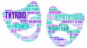 foto of fibromyalgia  - Mood swing thyroid word cloud on a white background in the thyroid cancer ribbon colours - JPG