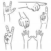 stock photo of interpreter  - Hands in different interpretations - JPG