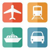 foto of transportation icons  - Vector illustration of simple transport related icons for your design - JPG