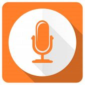 stock photo of microphone  - microphone orange flat icon podcast sign  - JPG