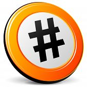 foto of hashtag  - illustration of hashtag 3d design orange icon - JPG