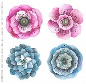 foto of indigo  - Collection watercolor flowers pink and indigo colors - JPG