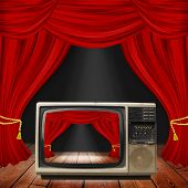 stock photo of opulence  - Theater stage with red curtains and spotlights - JPG
