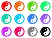 foto of ying-yang  - ying yang vector icon set - JPG