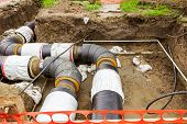 foto of pipeline  - New pipeline in the process of building under construction - JPG