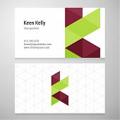 picture of letter k  - Modern letter K origami Business card template - JPG