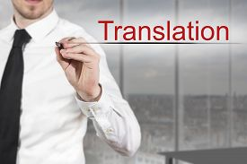 image of pronunciation  - businessman in office writing in the air translation - JPG