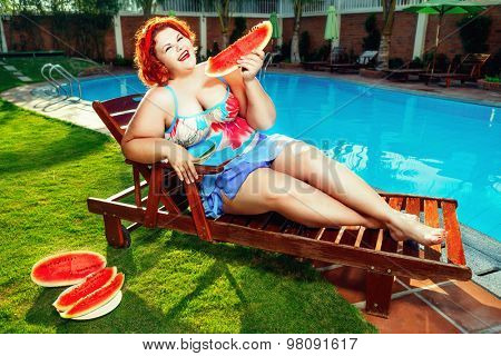 Fat Woman In Pool