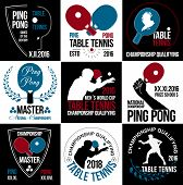 Постер, плакат: Set of table tennis logos labels and badges