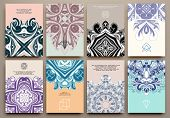 Постер, плакат: Set of Vintage Ornamental Brochures and Flyer Pages Islam Indian Arabic traditional Patterns Vec