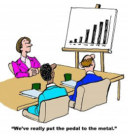 picture of pedal  - Business cartoon showing people in a meeting and chart showing increased sales - JPG