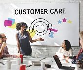 Group of people with illustration of contact us online customer services poster