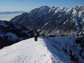 image of snowbird  - Alone on a ridge of a the mountains at Snowbird Utah - JPG