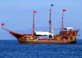 picture of pirate ship  - A modern day pirate ship that doubles as a party boat sits off the coast of Puerto Vallarta Mexico - JPG
