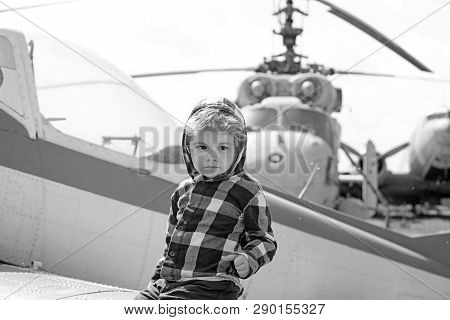 poster of Its Time To Fly. Little Kid Have Summer Vacation. Cute Boy Child On Vacation Trip. Little Child At H