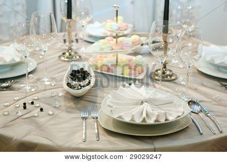 Table Setting For Elegant Wedding Dinner Poster