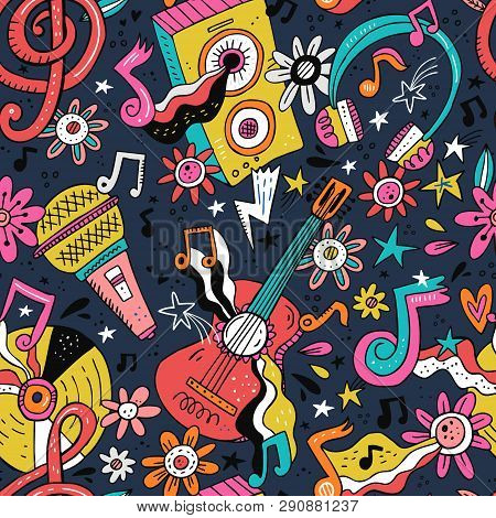 poster of Rock N Roll Doodle Vector Seamless Pattern. Hippie Music Cartoon Illustrations. Disco Party. Retro,