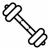 Heavy Barbell Icon. Outline Heavy Barbell Vector Icon For Web Design Isolated On White Background poster