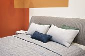 Luxury Modern Impressionism Cubism Avant-garde Style Bedroom And In Pink, Brown And Blue Tones, Inte poster