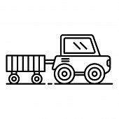 Farm Trail Machine Icon. Outline Farm Trail Machine Vector Icon For Web Design Isolated On White Bac poster
