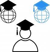 Set Of Education Graduation Cap Globe Icon Vector / Graduated Learning Abroad International Ideas. M poster