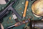 Ww2 German Army Field Equipment With Helmet And A Machine Gun poster