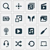 Multimedia Icons Set With Jack, Begin, Search And Other Notebook Elements. Isolated  Illustration Mu poster