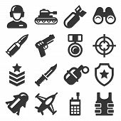 Army, Military And War Icons Set. Vector poster