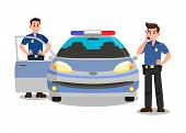 Police Officers With Walky Talky Cartoon Character. Bodyguards And Police Car Flat Vector Illustrati poster