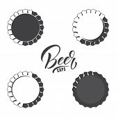 Set Of Vintage Beer Caps. Isolated Beer Caps Design Elements. poster