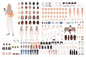 Stylish Young Woman Animation Set Or Constructor Kit. Collection Of Body Parts, Gestures, Trendy Clo poster
