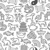Chinese Horoscope, Line Art Seamless Pattern. Vector Astrological Zodiac Animals, Pagoda And Fan, Bo poster