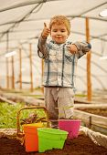 Hothouse Industry. Hothouse Industry Pdoruction. Small Child Farmer Work In Hothouse Industry. Hotho poster