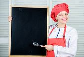 Looking For Colleagues. Staff Wanted. Woman Chef Hat Apron Hold Blackboard Copy Space. Chef Job Posi poster