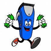 Electrical Hair Clipper Mascot Running With Money - A Vector Cartoon Illustration Of A Barber Shop E poster