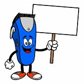 Electrical Hair Clipper Mascot With A Sign - A Vector Cartoon Illustration Of A Barber Shop Electric poster