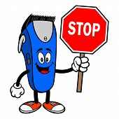 Electrical Hair Clipper Mascot With A Stop Sign - A Vector Cartoon Illustration Of A Barber Shop Ele poster